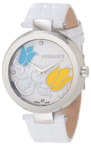 Versace Damen Armbanduhr 38mm Armband Kalbsleder Weiss Gehaeuse Edelstahl Schweizer Quarz I9Q99SD1TU S001