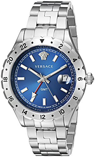 Versace Herren v11010015 hellenyium GMT Analog Display Swiss Quartz Silber Uhr