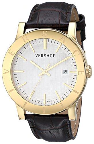Versace Herren vqb030000 Acron vergoldet braun Armbanduhr mit Leder Band