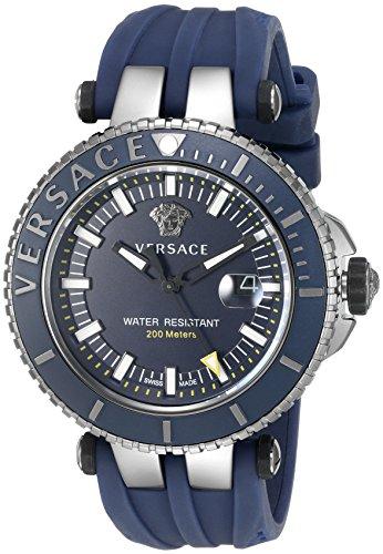 Versace Maennern v race Swiss Quarz Edelstahl und Silikon Casual Armbanduhr Farbe Blau Modell vak020016