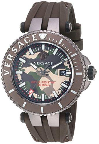 Versace Maennern v race Swiss Quarz Edelstahl und Silikon Casual Uhr Farbe Braun Modell vak060016