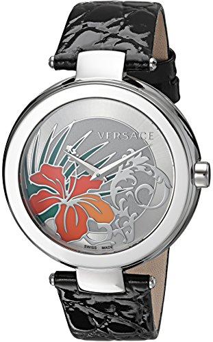 Versace Mystique Silber Hibiskus Zifferblatt schwarz Leder Damen Armbanduhr 19q99d1hi s009