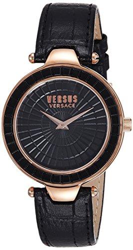 Versus Versace Sq112 Womens Schwarz Texturiert Leder Uhr Leather