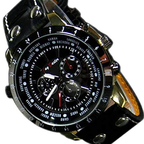 Herrenuhr Klassisch Chronograph Look Schwarz Insolvenz UBoot Design XXL Mega Uhr