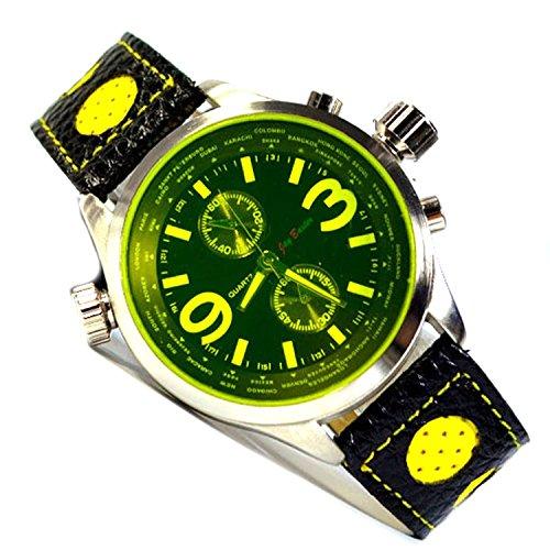in Schwarz Gelb mit Retro Armband und Chronograph Look
