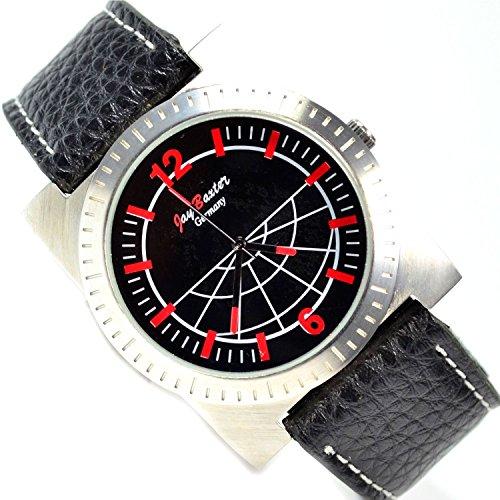 XXL in Schwarz Silber Rot Grosse Uhr