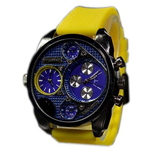 Mode Blau Gelb Armbanduhr DUAL Sport STYLE Trend WATCH jb 572