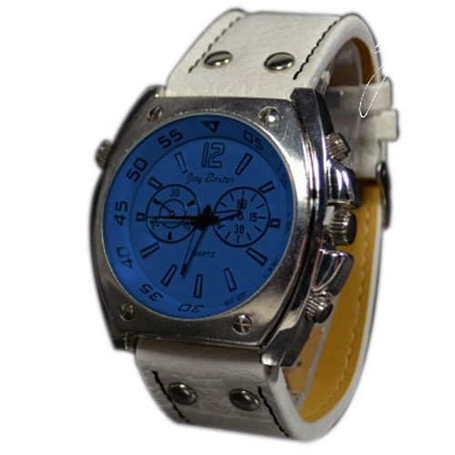 Chronograph Look in Blau Weiss Retro Look Trend Uhr