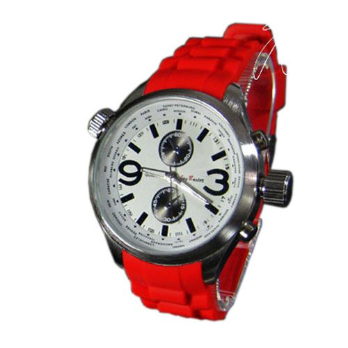 XXL Silikon Rot Silber Mode Designer Sport Retro UBoot Militaer Uhr