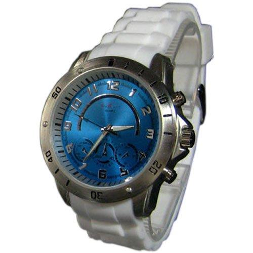 XXL Silikon Blau Silber Mode Designer Sport Retro UBoot Militaer Uhr