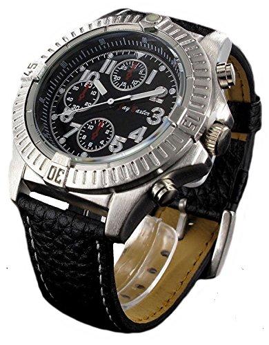 Jay Baxter XXL Quarz Herren Leder Armbanduhr mit drehbarer Gehaeuse Luenette
