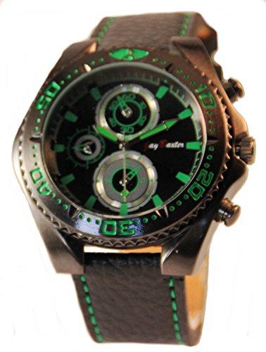 Jay Baxter Schwarz Gruene Armbanduhr mit drehbarer Luenette Analog Herrenuhr
