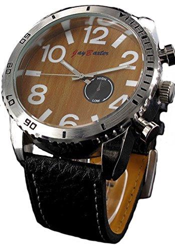Jay Baxter XXL Watch Armbanduhr Retro Leder Quartz drehbare Luenette