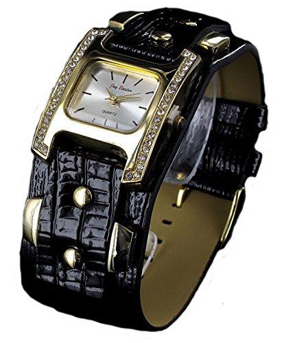 Jay Baxter Strass Armbanduhr schwarz Leder analog Analog Watch