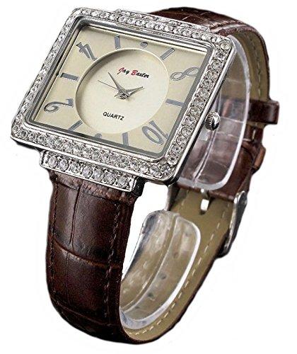 Braune Jay Baxter Strass Stein analoge Armbanduhr 70er Jahre Stil