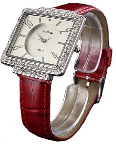 Rote Jay Baxter Strass Stein analoge Armbanduhr 70er Jahre Stil