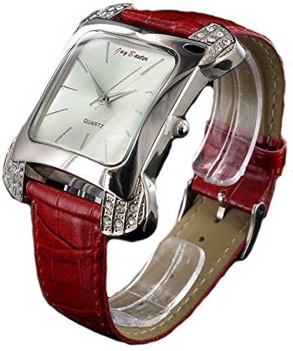 Rote Jay Baxter Glitzer Stein analoge Leder Armbanduhr nenarbt