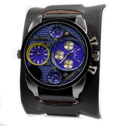Jay Baxter XXL Herrenuhr Dual Time in Schwarz Blau Gelb Chronograph Look in Retro Style Power U boot Militaer Uhr Trend Uhr
