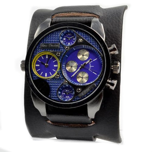 Jay Baxter XXL Dual Time in Schwarz Blau Gelb Chronograph Look in Retro Style Power U boot Militaer Uhr Trend Uhr