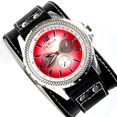Jay Baxter Power Uhr in Schwarz Silber Rot mit Chronograph Look Herrenuhr