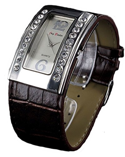 Jay Baxter Retro Strass Armbanduhr Kroko Leder analog Women Watch