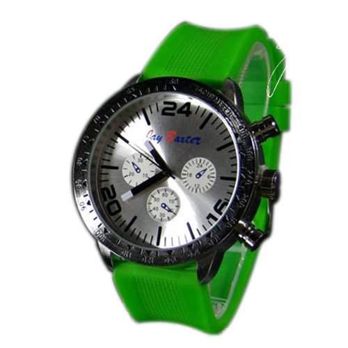 Herrenuhr XXL Silikonuhr Gruen Silber Mode Design Sport Bunt Unisex Herren Uhr