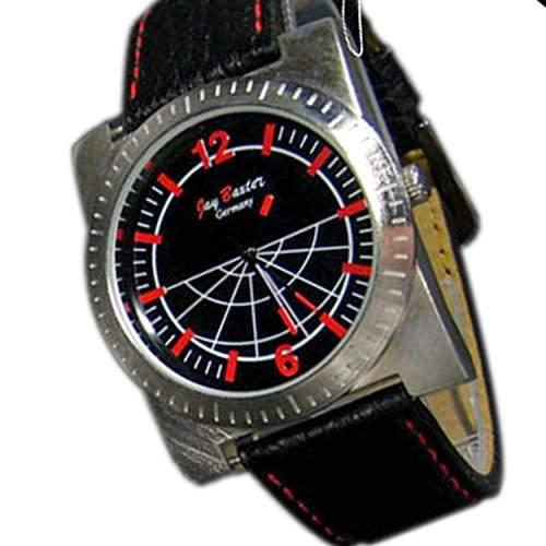 Herrenuhr Mode Desiger Uhr Lederamband in Schwarz Rot, Gehaeuse in Silber NEU