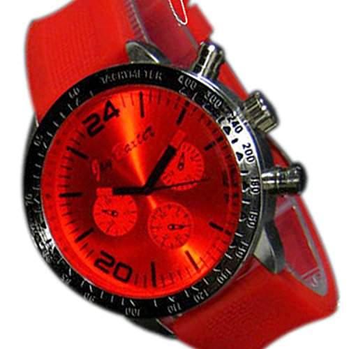 Herrenuhr XXL Silikon Rot Silber Mode Design Sport Bunt Unisex Herren Uhr