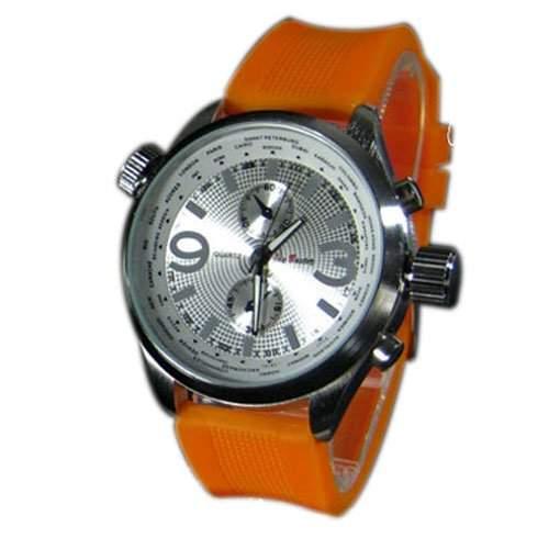 Herrenuhr XXL Silikon Orange Silber Mode Designer Sport Retro Chrom UBoot Uhr