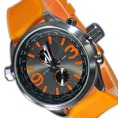 Herrenuhr XXL Silikon Orange Silber Anthrazit Chrono Look Sport Chrom UBoot Uhr