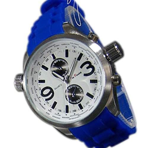 Herrenuhr XXL Silikonuhr Blau Weiss Silber Mode Designer Sport Retro UBoot Uhr