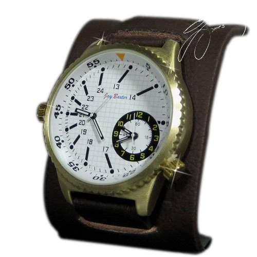 Herrenuhr Dual Time Braun, Retro Look, Mega, XXL, Unisex, Design, U-Boot, Uhr
