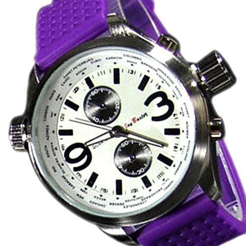 Herrenuhr Lila Chronograph Look Damen Uhr Retro XXL Designer U-Boot Leder Uhr