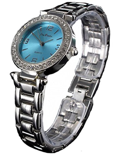 Kleine Jay Baxter Women Damen Watch analoge Strass Quartz Silber Blau