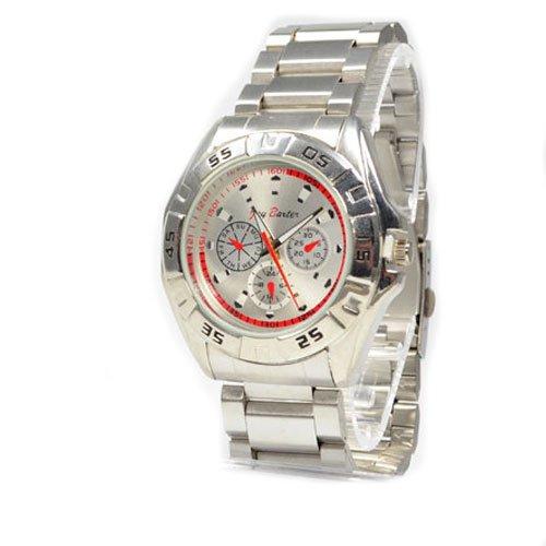 Massive Herrenuhr von Jay Baxter in Silber Rot Chronograph Look Power Uhr