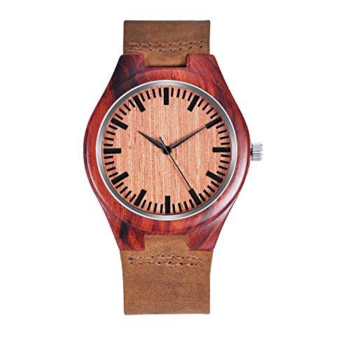 zhha 1447 Herren Luxus Armbanduhr aus Holz mit braunem Rindsleder Leder Band Analog Quarz Wasserdicht