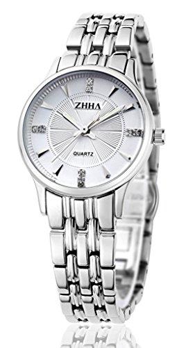 ZHHA Frauen 004 Quarz Silber Edelstahl Armband wasserdichte Uhr