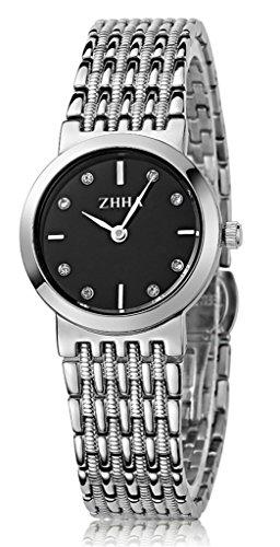 ZHHA Damenuhren 008 Quarz Zifferblatt schwarz Edelstahl Armband Armbanduhr Wasserdicht