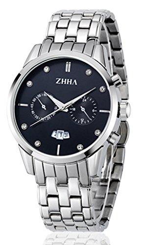 ZHHA Herren 013 Tag Datum Multifunktions Chronograph Quarz Edelstahl Schwarz wasserdichte Uhr