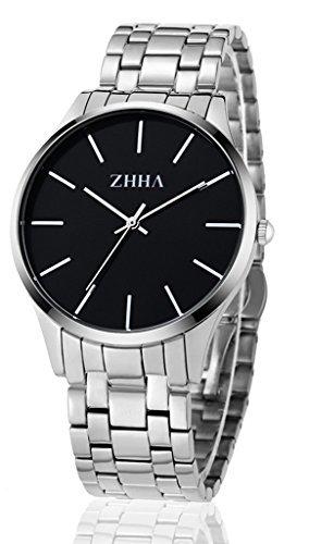 ZHHA 027 M nner Gentleman Uhr Quarz Zifferblatt schwarz Silber Edelstahl wasserdichte Uhr