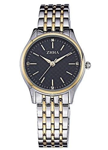 ZHHA Damen 041 Luxuxquarz schwarzem Zifferblatt Gold Edelstahl Armband Armbanduhr Wasserdicht