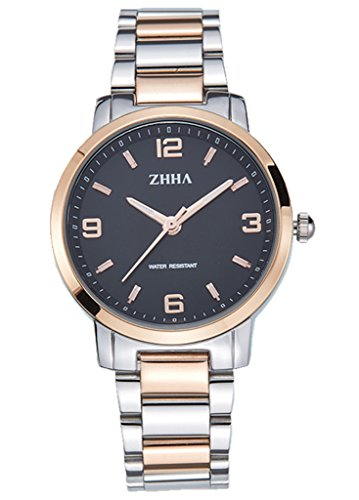 ZHHA Frauen 061 Armbanduhr Klassische Quarz Zifferblatt Schwarz Rose Gold Edelstahl