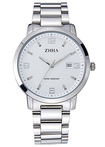 ZHHA Mens 061 Klassische Quarz Zifferblatt aus Edelstahl wasserdicht mit Silber Armbanduhr