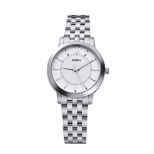 ZHHA 063 Fashion Damen Silber Edelstahl Quarz wasserdichte Armbanduhr