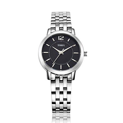 ZHHA 063 Damenmode Quarz Armbanduhr Armband Wasserdicht Silber Tone Uhr