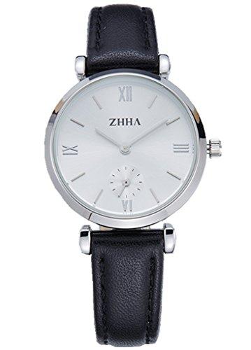 ZHHA Frauen S001 Klassische Quarz Armbanduhr Edelstahl Uhr mit schwarzem Armband