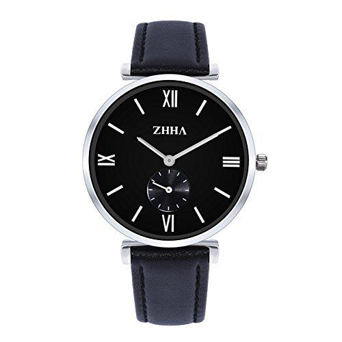 ZHHA Herren S001 Klassische Quarz Handgelenk Armband Schwarz Leder wasserdichte Uhr