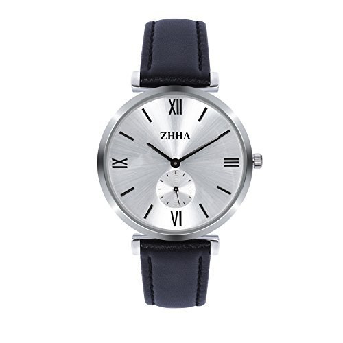 ZHHA Herren S001 Quarz Armbanduhr Schwarz Leder wasserdichte Uhr mit wei em Zifferblatt