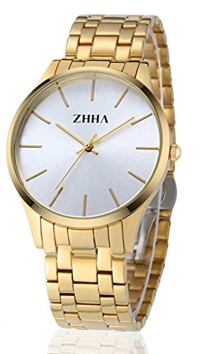 ZHHA Herrenuhren 027 Quarz Gold Edelstahl Armbanduhr Wasserdicht
