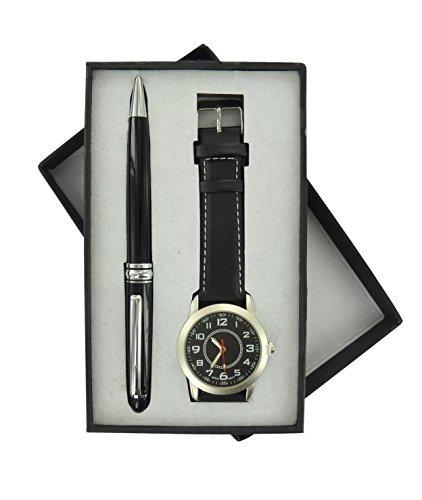 Prodis Set Armbanduhr Kugelschreiber verchromt Schwarz